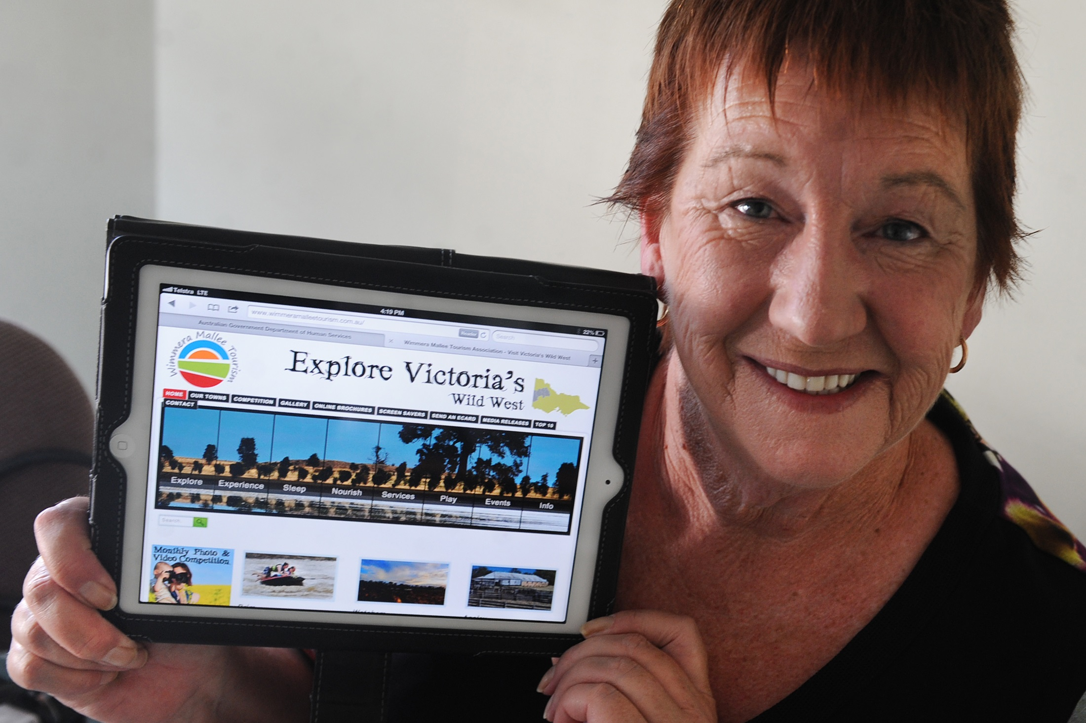 Pic of Councillor Helen Ballentine with an ipad