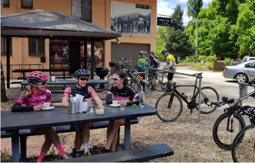 Women cyclists at cafe in Victorian High Country