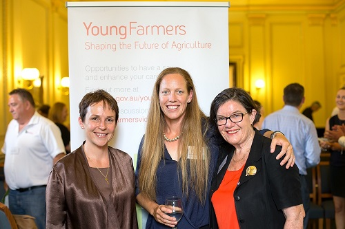 Agriculture Minister Jaala Pulford, Merryn Byrne and Cathy McGowan at Young Farmers Scholarships launch