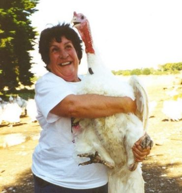 Beryl Taylor holding large turkey
