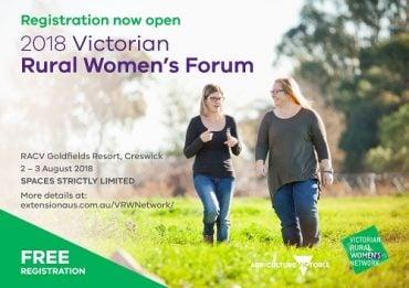 Invitation to register for Rural Women's Forum - two women walking in field