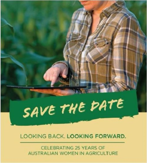 Save the date reminder for Australian Women in Agriculture conference - rural woman on ipad