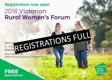 Rural Women's Forum flyer showing registrations full