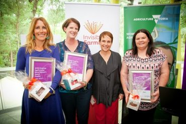 Minister for Agriculture, the Hon. Jaala Pulford alongside 2018 Victorian Rural Women's Award winner Melissa Connors and Victorian finalists Cara Hadzig and Jade Miles