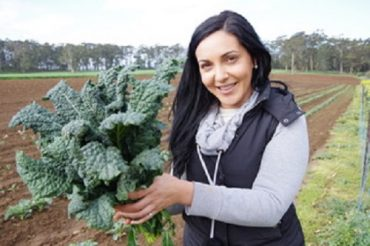 Emma Germano, President of the Victorian Farmers Federation's Horticulture Group in field