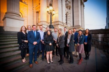 13 recipients of 2018 Young Farmers Scholarships on the steps of Melbourne's Parliament House