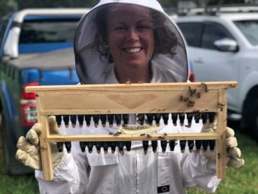 2019 Victorian AgriFutures Rural Women's Award winner Claire Moore with her first queen bee grafts