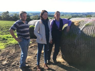 Minister for Agriculture, the Hon. Jaclyn Symes at the Young Farmers Scholarships launch on-farm with Kate and Jason Kirk