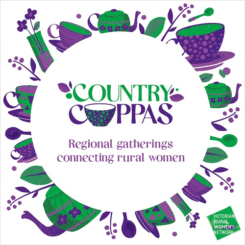 Purple and green teapots, teacups and flowers in a circle promoting Victorian Rural Women's Network new event Country Cuppas