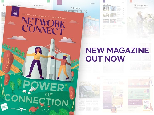 Cover of new Network Connect magazine showing women linking arms on silos