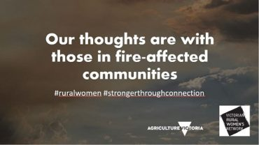 Expression of sympathy to those in bushfire-affected areas of Victoria, Agriculture Victoria and VRWN logos on smokey greyed-out background