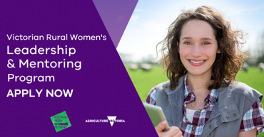 Green and purple Victorian Rural Women's Network social media tile stating the words, 'Victorian Rural Women's Leadership and Mentoring Program, Apply now' and picturing a rural woman in a field holding an iPad