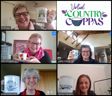 Five rural women raise their mugs in an online image of their Virtual Country Cuppa event