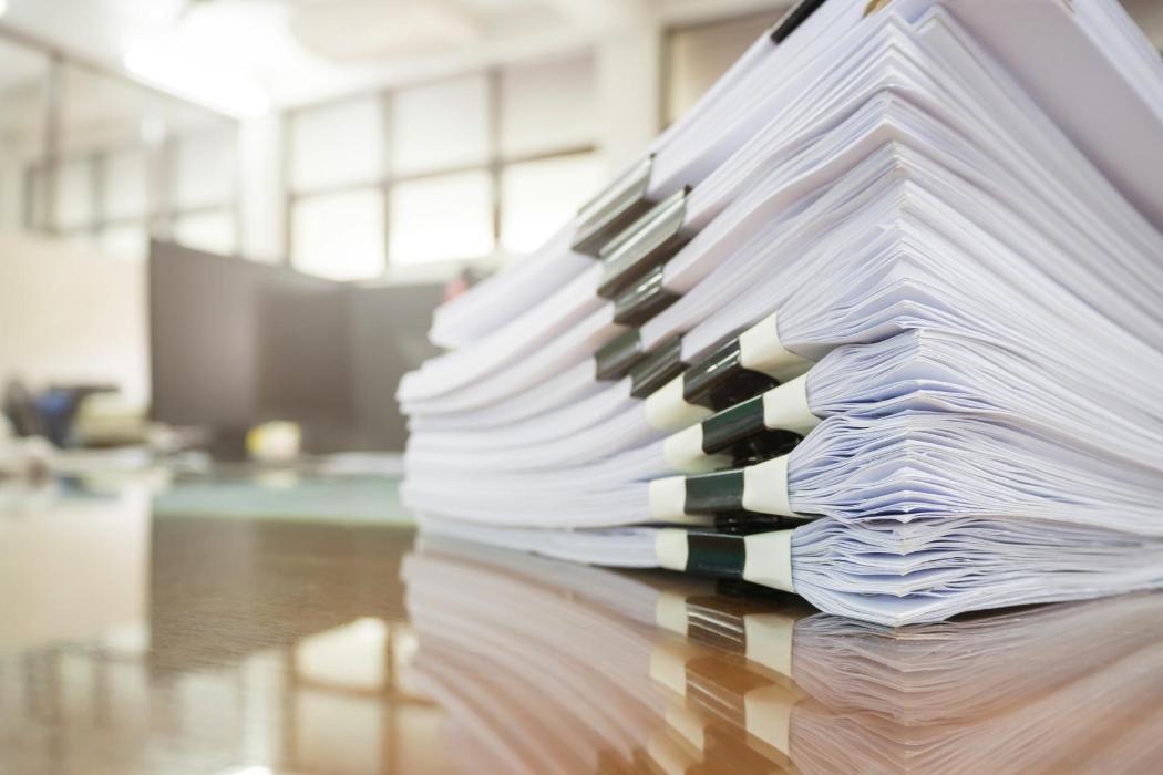 Photo of paperwork pile