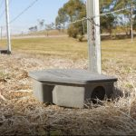 Photo of rodent bait station chained to fence.