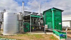 Biomass boiler and buffer tank at Meredith Dairy
