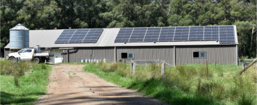 Woolshed with solar panels