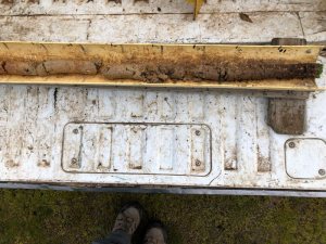 Soil core from the Baynton granite phalaris paddock, which highlights a gradual change in soil characteristics down the profile.