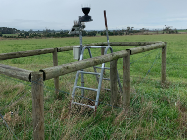 Weather station and telemetry unit of the Yarram soil moisture monitoring site located on the fence line between two paddocks.