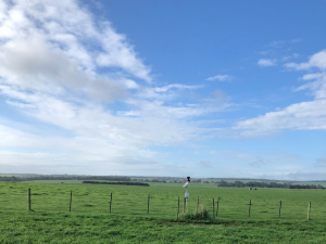 Weather station and telemetry unit of the Dartmoor soil moisture monitoring site located on the fence line between two paddocks.