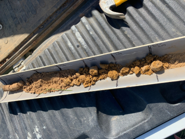 Soil core from the Greta paddock, which highlights a gradual change in soil characteristics down the profile.