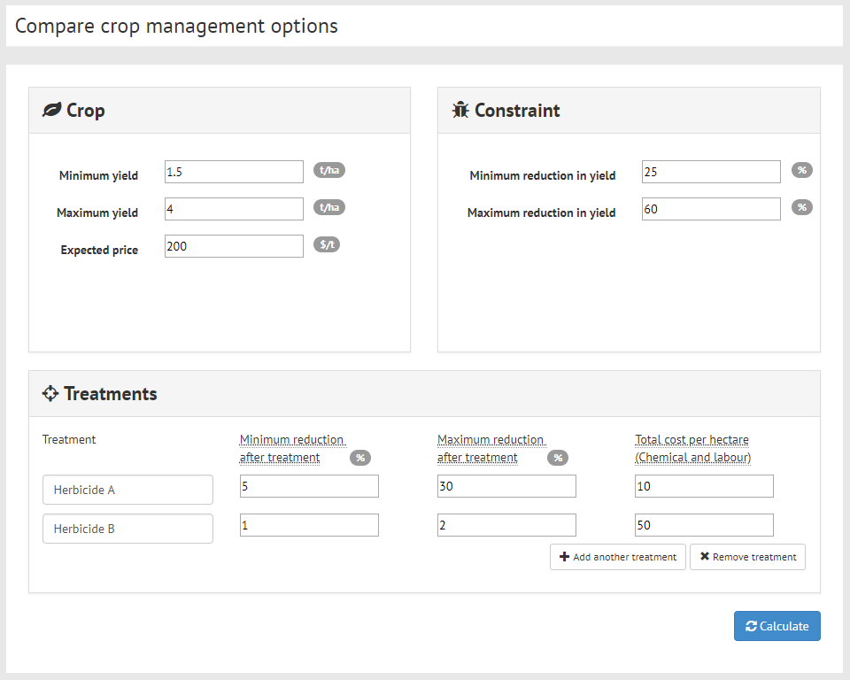 Compare crop management options screenshot