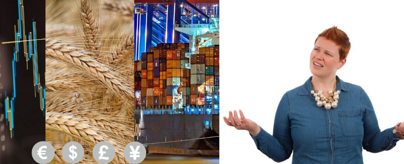 Young woman wondering what the grain, stocks and shipping containers are doing
