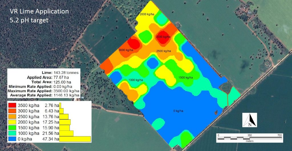 Figure 2. Soil pH mapping with lime application rates