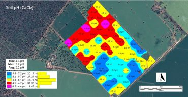 Ariel image of paddocks with overlaid colour coded map showing variability of soil pH over the mapped area.