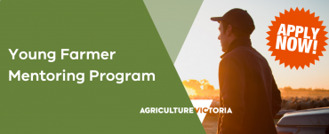 Tittle Young fArmer Mentorng Program Apply Now with image of a young male farmer looking toward horizon